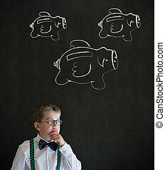 Young boy thinking Finance