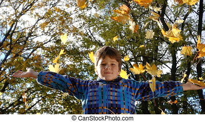Young boy throwing autumn leaves on park