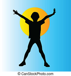 Young boy vector silhouette