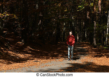 Young Boy Walking In The Forest