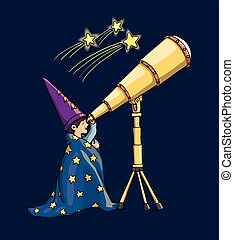 Young Boy Watching Through Telescope, Gazing at Falling Stars, in Astrologist Hat