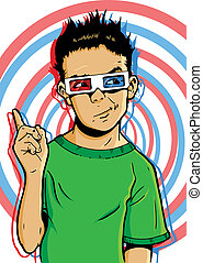 Young boy wearing 3D glasses with a questionable expression...