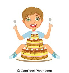 Young boy with birthday cake, a colorful character