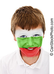 Young boy with bulgaria flag painted on his face