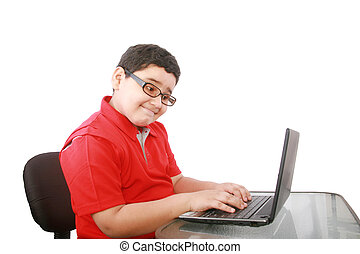 young boy with computer isolated on white