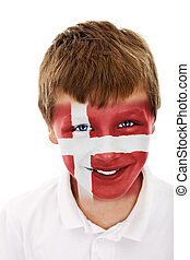 Young boy with denmark flag painted on his face