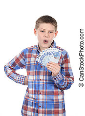 Young boy with euro notes