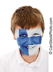 Young boy with  finland flag painted on his face