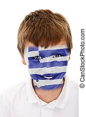 Young boy with greece flag painted on his face