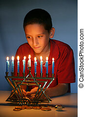 Young Boy With Hanukkah Menorah