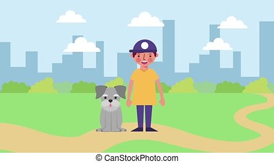 young boy with his dog in the city park