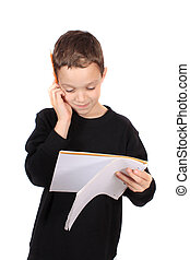 Young boy with homework