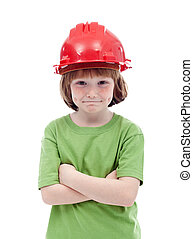 Young boy with red hardhat