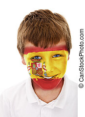 Young boy with spain flag painted on his face