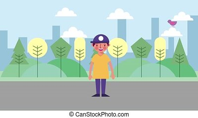 young boy with sport cap standing in the park city animation