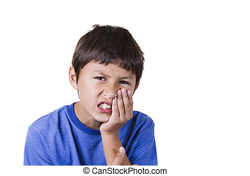 Young boy with toothache - on white background