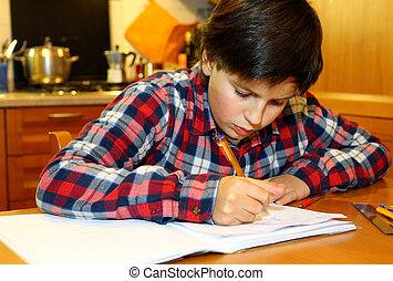 young boy writes on his notebook at home 4