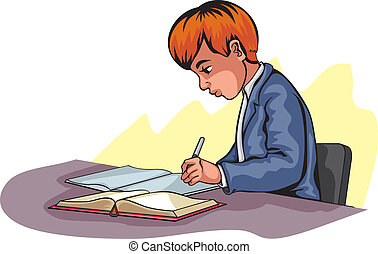 Young boy writing - Vector illustration of a young boy ...
