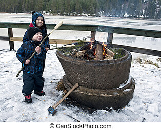 Young boys on winter picnic