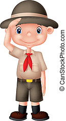 Young boyscout doing a hand sign