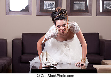 young bride and shoes