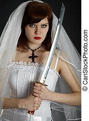 Young Bride armed sword