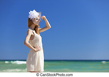 Young bride at the beach