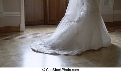 Young bride goes indoors slow motion