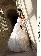 Young bride in white ceremonial dress. - Beautiful young...
