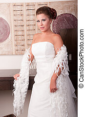 young bride in white dress