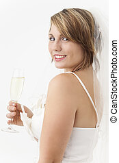 young bride with a glass of champagne