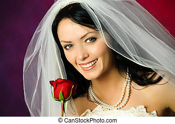 young bride with a rose