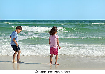 Young Brother and Sister at the Beach