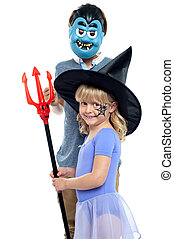 Young brother and sister in halloween costume - Young...