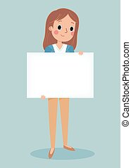 young brunett girl holding blank sign