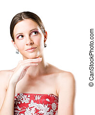 Young brunette beauty with thinking gesture.