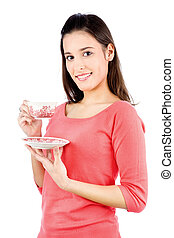 girl holding a teapot