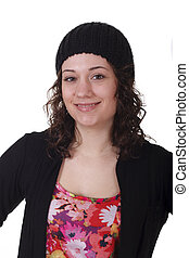 Young Brunette in Black Knit Cap Smiling