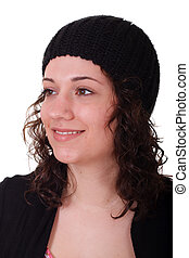 Young Brunette in Black Knit Cap Smiling to Side