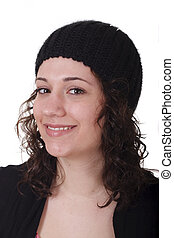 Young Brunette in Black Knit Cap Smiling Two Thirds