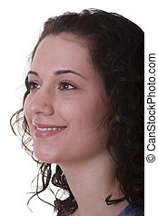 Young Brunette Looking to Right Smiling in Profile