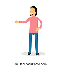 Young brunette man in pink pullover standing and laughing with tears cartoon character vector Illustration