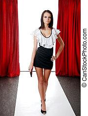 Brunette model on the catwalk - young Brunette model on the ...