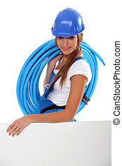 Young brunette with helmet and blue tube roll