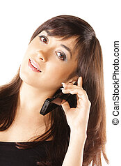 Young brunette with mobile