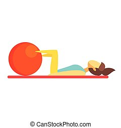 Young brunette woman doing fitness exercise on an orange fitball. Colorful cartoon character