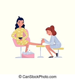 Young brunette woman enjoying a foot massage at spa or beauty salon vector Illustration on a white background