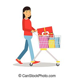 Young brunette woman in casual clothes walking with a shopping cart cartoon character vector Illustratio