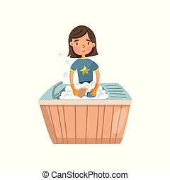 Young brunette woman in casual clothing washing dishes in the kitchen, housewife in housework activity cartoon vector Illustration