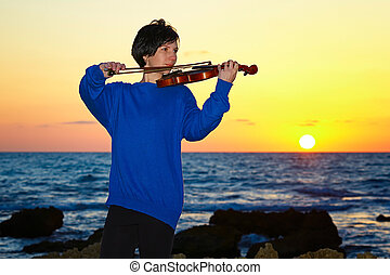 young brunette woman music with violin